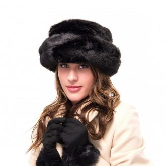 Black Faux Fur Hat and Glove Set