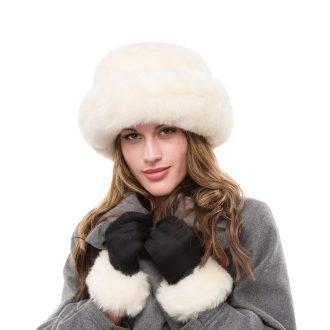 Cream Faux Fur Hat and Glove Set