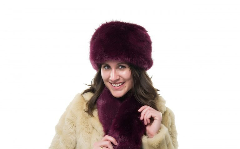 Maroon Faux Fur Hat and Scarf Set