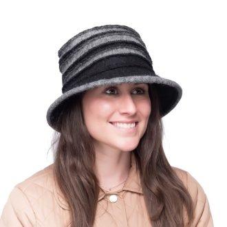 Black/Grey Wool Cloche Bucket Hat