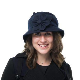 Navy Wool Cloche Bucket Hat Heather