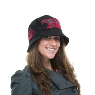 Black Wool Country Tweed Cloche Hat Sonia