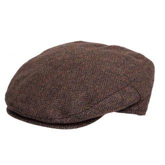 Brown Herringbone Tweed Flat Cap BR67