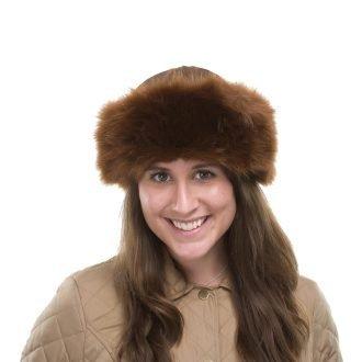 Faux Fur Brown Pillbox Hat Imogen