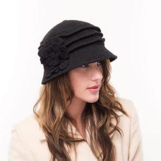 Wool Cloche Floral Bucket Hat Melanie